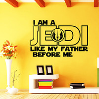 Star Wars Wall Decal Quote Luke Skywalker I Am a Jedi, Like My Father Before Me Vinyl Sticker Decals Home Decor Mural Bedroom Window AN717