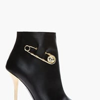 Versus Black Leather Gold-trimmed Army Boots for women | SSENSE