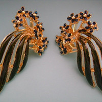 Stunning Goldtone W/Green and Blue Color Enamel Floral Leaves Fancy Wings Shape Earrings Perfect for Day and Night Fashion Costume Jewelry