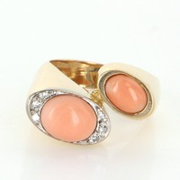 Retro 60s Vintage Coral Diamond Cocktail Ring 18 Karat Yellow Gold Estate Jewelry