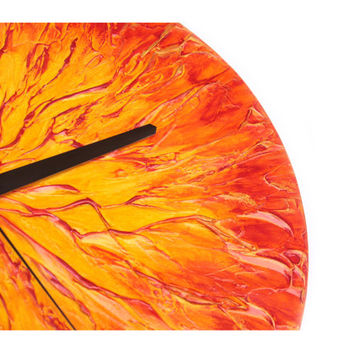 large clock, UNIQUE abstract SUN Wall Clock, modern handmade design clock, orange yellow red, IMPASTO , hand painted, art design home decor