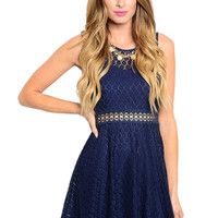 Sleeveless Crochet Lace Fit & Flare Cocktail Dress