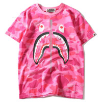 Bape Aape Shark camouflage short-sleeved fake zipper T shirt