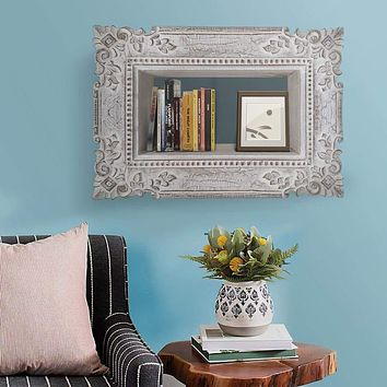 Engraved Mango Wood Wall Mounted Shelf with Textured Details, Distressed Gray