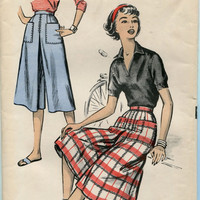 Advance 8691 1950s CULOTTE PATTERN Easy to Sew Culottes Dart Fitted Inverted Pleats Waist 28 UNCuT Womens Sewing Patterns