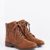 Brown Side Zip Lace-Up Ankle Boot by Qupid | Combat Boots | rue21