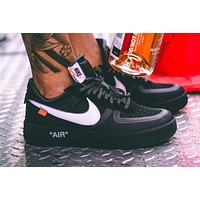 Off White x Nike Air Force 1 Low classic low-top all-match casual sports shoes black