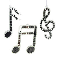 Hanging Glass Reflective Musical Notes Glitter Christmas Tree Ornaments, Silver, 5-Inch, 3-Piece
