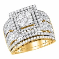 14kt Yellow Gold Women's Round Diamond Square Cluster Bridal Wedding Engagement Ring Band Set 2-5/8 Cttw - FREE Shipping (US/CAN)