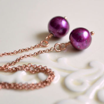 Pearl Threader Earrings, Rose Gold Jewelry, Ear Threads, Mulberry Wine Burgundy, Dainty Chain Earrings, Pink Gold, Free Shipping