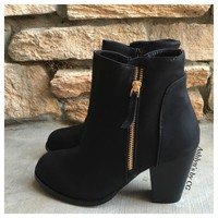 """""""Style and Flare"""" Always Faithful Black Heel Bootie Boots"""