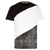Grayscale Color Block T-Shirt