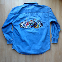 Vintage Loony Tunes Denim Long Sleeve Button Up Shirt / Size Medium / Acme Clothing Co / 1993 Warner Brothers