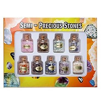 Top Plaza 9 Wishing Bottles Variety Gemstone Healing Energy Chip Crystal Stone Collection Kit (Random 9 Stones Materials)