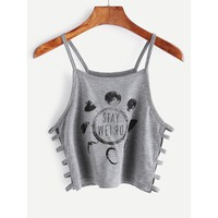 Grey Printed Ladder Cut Out Side Crop Cami Top