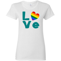 """Fun image shows the word """"LOVE"""" in teal letters with a bright and lively heart-shaped Gay Pride Rainbow Flag for the """"O"""".   Great for Gay Pride Month events, or a wonderful Valentine's Day gift for your special someone. Terrific gift ideas for your favor"""