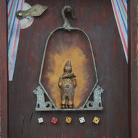 """Assemblage Sculpture """"Clown on a Swing"""" vintage collection"""