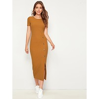SHEIN Single Breasted Split Hem Rib-knit Pencil Dress