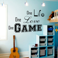 Wall Decal Quotes One Life One Love One Game Design Vinyl Decals Gym Playroom Living Room Kids Bedroom Home Decor Art Mural 3795