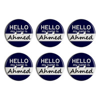 Ahmed Hello My Name Is Plastic Resin Button Set of 6