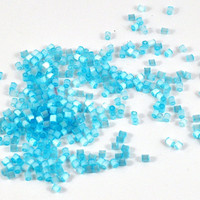 Square Faceted Glass Seed Beads - Baby Blue - 10gm - Jewellery, Costume & Craft Supplies by DeeDeeSupplies