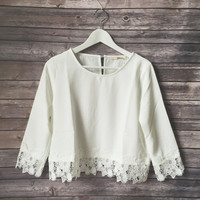 Laura Crochet Lace Trim Top