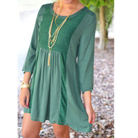 Green With Envy Hunter Lace Panel Dress