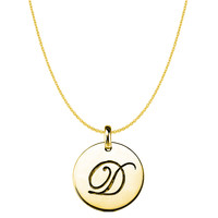 """D"" 14K Yellow Gold Script Engraved Initial Disk Pendant"