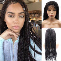Top Quality African American Wigs long black box twist braided hair full Synthetic Baby hair  Wigs For Black Women free shipping