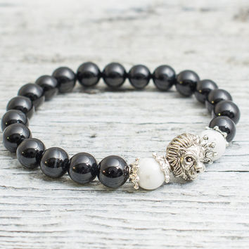 Black onyx stone and white howlite beaded silver Lion head stretchy bracelet, made to order yoga bracelet, mens bracelet, womens bracelet
