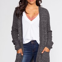 Caught In The Breeze Cardigan - Heather Charcoal