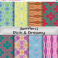 SALE Rich & Dreamy Colorful Digital Paper Pack, Printable Instant Download, Fun Creative Prints Designs Ready for Paper Crafts, Backgrounds