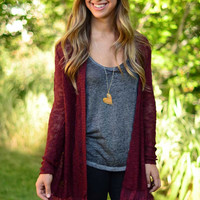 Sheer Luck Cardigan - Wine