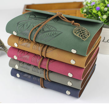 2016 Hot sale Vintage spiral notebook leather journal diary blank kraft paper note book sketchbook A6 A7 ring binder planner