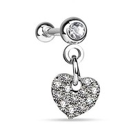 Tragus Earring Clear Crystal Heart Dangle Cartilage 16G Piercing Jewelry