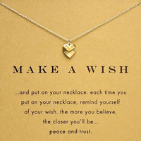 Sparkling Heart make a wish plated gold Pendant necklace Clavicle Chains Necklaces
