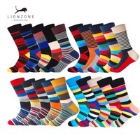 5Pairs/Lot  Business Casual Mens Combed Cotton Long Socks Spring Newly Colored Striped Funny Wedding Happy Socks Gift Box