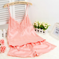 2015 New Women Sexy Silk Satin Pajama Set Lace Pyjama Set Plus Size Pijama Set Sleeveless Sleepwear V-neck Nightwear For Summer