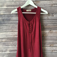 Avah Lace Up Tank (Burgundy)