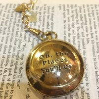 Compass on a Pocket Watch Chain, Oh the Places You'll Go, Boyfriend Gift, Husband Gift, Quote Compass, Gold Compass, Engraved Compass