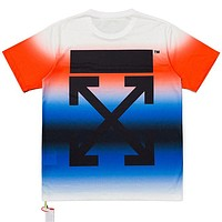 Off White New fashion arrow gradient print couple top t-shirt