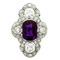 Antique Natural Unenhanced amethyst and diamond ring by Dreicer & Co