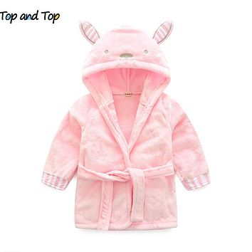 winter The little mouse children's bathrobe nightgown baby boys clothes long sleeve baby hooded bath towel