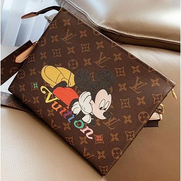 Hipgirls LV New fashion monogram mouse print shopping leisure shoulder bag crossbody bag cosmetic bag Coffee