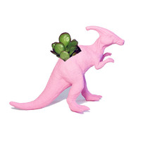 Up-cycled Baby Pink Duckbill Dinosaur Planter - With Succulent Plant
