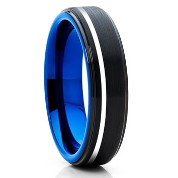 Blue Tungsten Wedding Band - Black Wedding Band - Blue Tungsten Band
