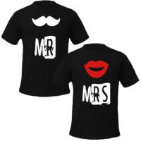 mr mustache and mrs lips Couple Tshirts