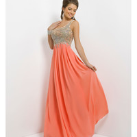 (PRE-ORDER) Blush 2014 Prom Dresses - Coral Pink Beaded Chiffon One Shoulder Prom Dress