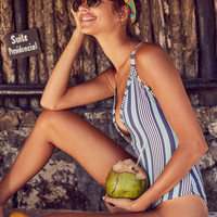 Out From Under Kelly Striped Snap-Up One-Piece Swimsuit | Urban Outfitters