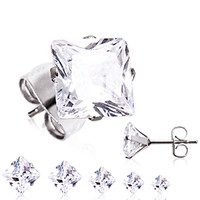 Pair of 316L Surgical Steel Clear Princess Cut CZ Stud Earrings
